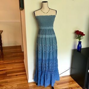 Boston Proper Cotton Blue Ombré Lace Maxi Dress